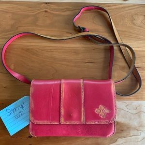 Patricia Nash Over Dye red leather crossbody